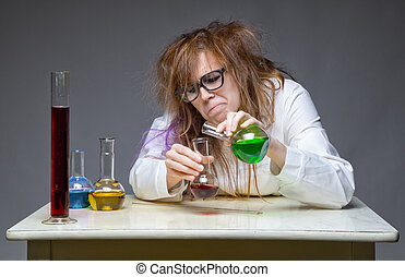 Mixing messy chemist in lab on gray background