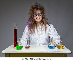 Happy shaggy scientist in lab on gray background