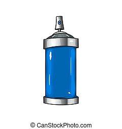 sprays with blue paint - Vector cartoon aerosol sprays with...