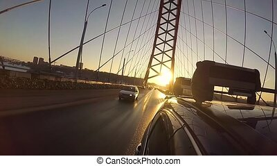 a trip on a cable-stayed bridge in Sunny day - a trip in car...