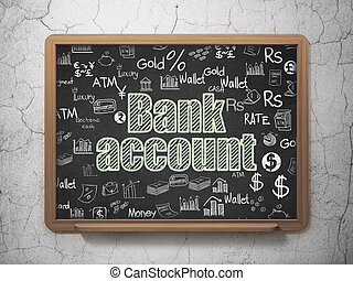 Currency concept: Bank Account on School board background -...