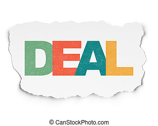 Business concept: Deal on Torn Paper background