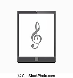 Isolated tablet pc with a g clef - Illustration of an...