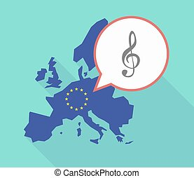 EU map with a g clef - Illustration of a long shadow...