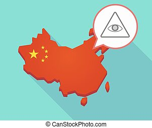 Map of China with an all seeing eye - Illustration of a long...