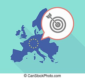 EU map with a dart board - Illustration of a long shadow...