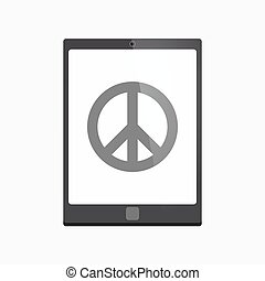 Isolated tablet pc with a peace sign - Illustration of an...
