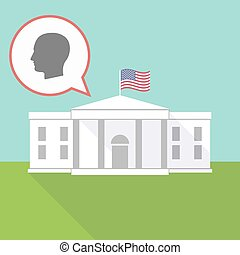 The White House with a male head