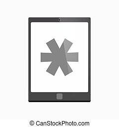 Isolated tablet pc with an asterisk - Illustration of an...