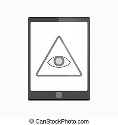 Isolated tablet pc with an all seeing eye - Illustration of...
