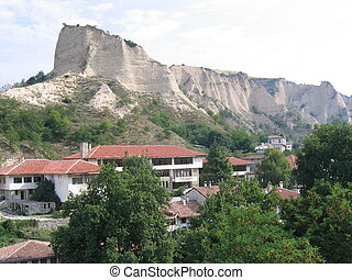 Limestone Cliffs in Bulgarian Town - Tall limestone cliffs...