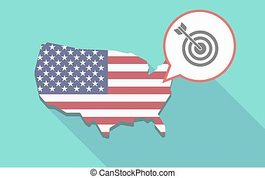 USA map with a dart board - Illustration of a long shadow...