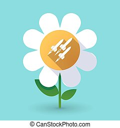 Long shadow daisy with missiles - Illustration of a long...