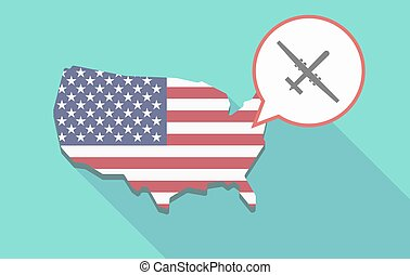 USA map with a war drone - Illustration of a long shadow USA...