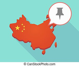 Map of China with a push pin