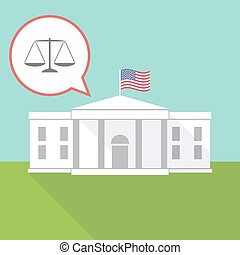 The White House with a justice weight scale sign