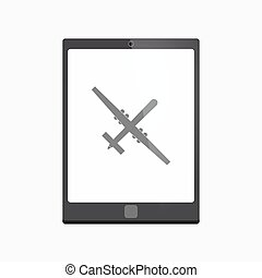 Isolated tablet pc with a war drone - Illustration of an...