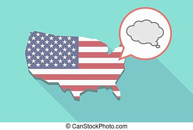 USA map with a comic cloud balloon