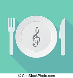 Long shadow dishware with a g clef - Illustration of a long...