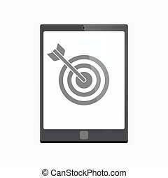 Isolated tablet pc with a dart board - Illustration of an...