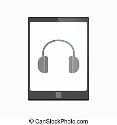 Isolated tablet pc with a earphones