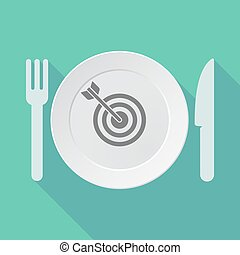 Long shadow dishware with a dart board - Illustration of a...