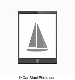 Isolated tablet pc with a ship