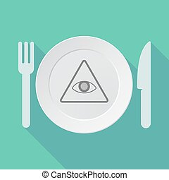 Long shadow dishware with an all seeing eye - Illustration...
