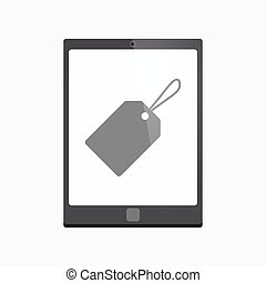 Isolated tablet pc with a label - Illustration of an...