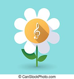 Long shadow daisy with a g clef - Illustration of a long...