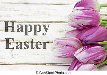Happy Easter greeting, A bouquet of purple tulips on...