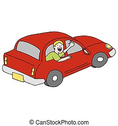 Passenger Waving Goodbye From Car - An image of a passenger...