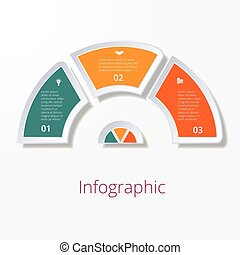semicircle diagram with three multicolored elements -...