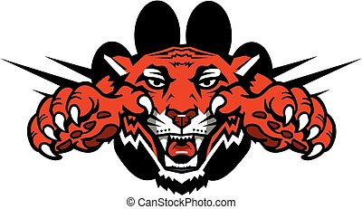 tiger mascot with claws and large paw print design for...