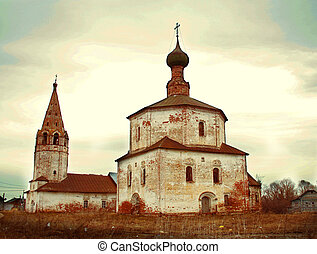 christian old chirch in russian town Suzdal spring photo