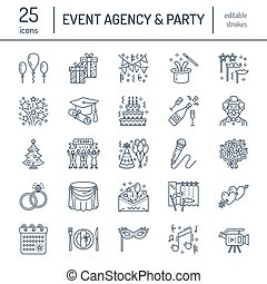 Event agency, wedding organization vector line icon. Party...