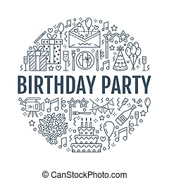 Event agency, birthday party banner with vector line icon of...