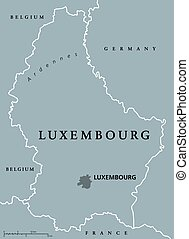 Luxembourg political map with capital, national borders and...
