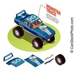 Monster Car 4wd Model Isometric Image - Monster truck model...