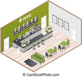 Coffee House Isometric Interior - Isometric cafe indoor...