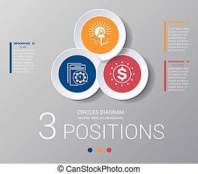 Circles diagram Elements Template infographics 3 positions -...