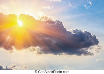 Sun and clouds on sky - Sun and clouds on the beautiful sky