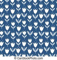 Seamless tulips pattern.