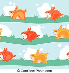 Seamless pattern with pretty cartoon hand-drawn bunnies playing catch-up on the striped lawn.