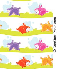 Seamless pattern with funny colored painted rabbits playing catch-up on the striped lawn.