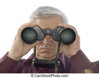 Men with binoculars