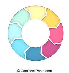 8 steps diagram for presentation background. 3D Rendering -...
