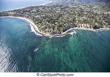 Pacific Waters Aerial Point Dume Malibu California - Aerial...