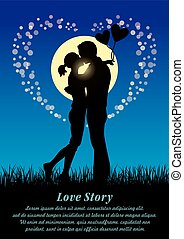 Lovers kissing couple sihouette - Silhouette illustration of...