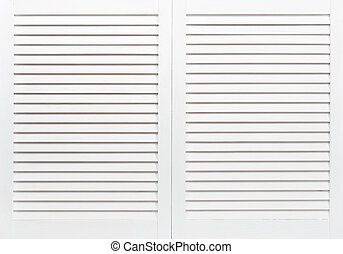 Wooden shutters - White wooden shutters closeup. May use as...